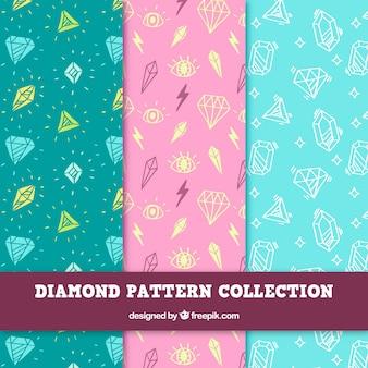 Modelli di schizzi di diamanti