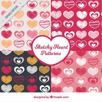 Patterns of different hearts sketches