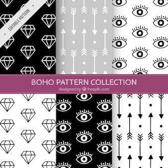 Patterns of drawings set in boho style