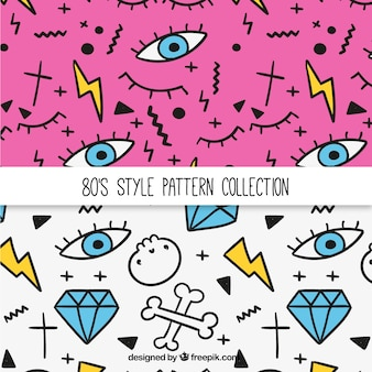 Patterns of the eighties with drawings