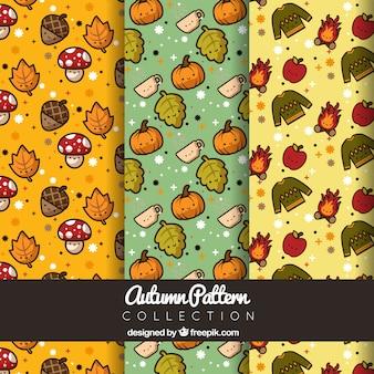 Patterns for autumn, kawaii style