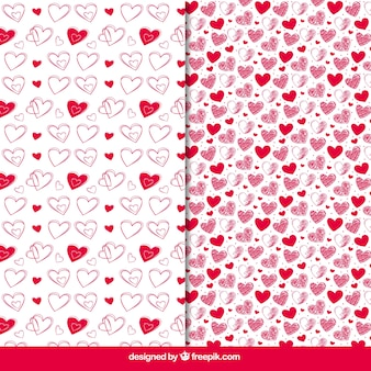 Patterns of hand drawn hearts