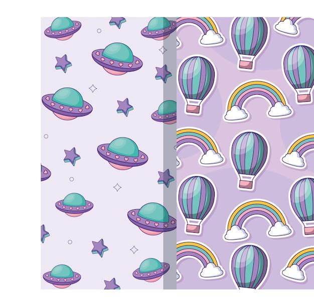 熱気球と虹のパターン