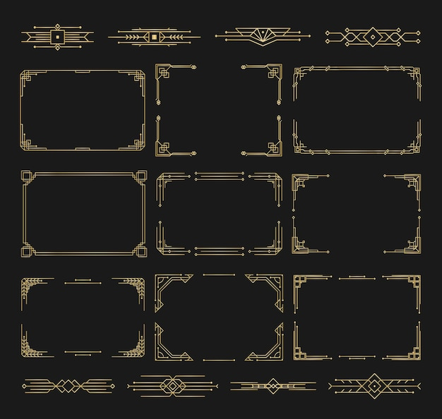 Patterns ornaments in art deco style calligraphy page dividers vintage design floral elegant decor