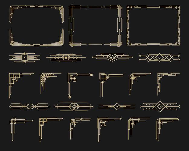 アールデコスタイルの書道ページの仕切りのパターン装飾品ヴィンテージデザイン花のエレガントな装飾