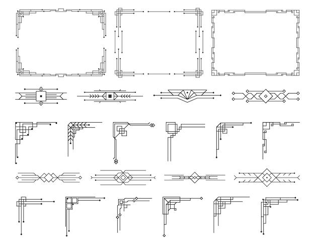 아트 데코 스타일의 서예 페이지 디바이더의 패턴 장식품 빈티지 디자인 꽃 우아한 장식