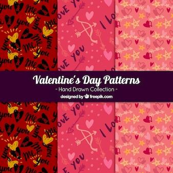 발렌타인 요소의 스케치와 패턴 팩
