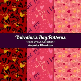 Patterns pack with sketches of valentine elements
