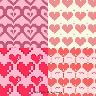 Patterns pixelated hearts