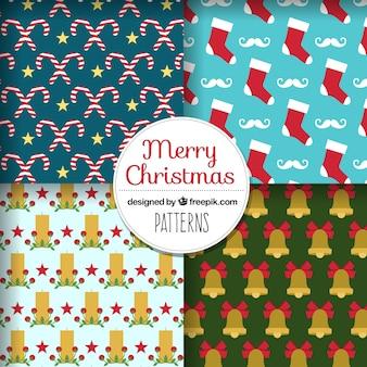 Patterns set di elementi di decorazione di natale