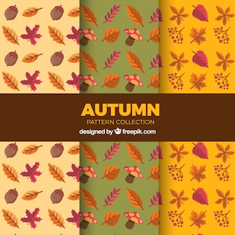 Patterns with flat autumnal elements