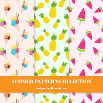 Pattern con frutta e gelato
