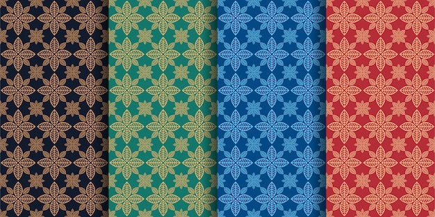 Patterns with geometric lines and herbs set