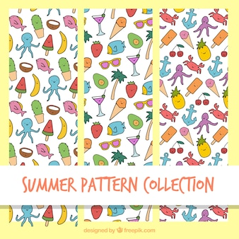 Patterns with hand drawn summer elements