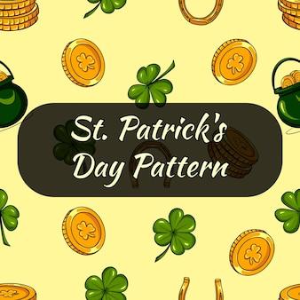 Паттрен на день святого патрика. листья клевера и монеты. бесшовный образец