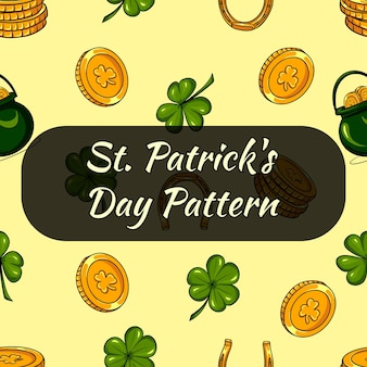 Pattren for st patricks day. clover leaves and coins. seamless pattern