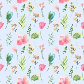 ピンクの花のシームレスなpattren水彩
