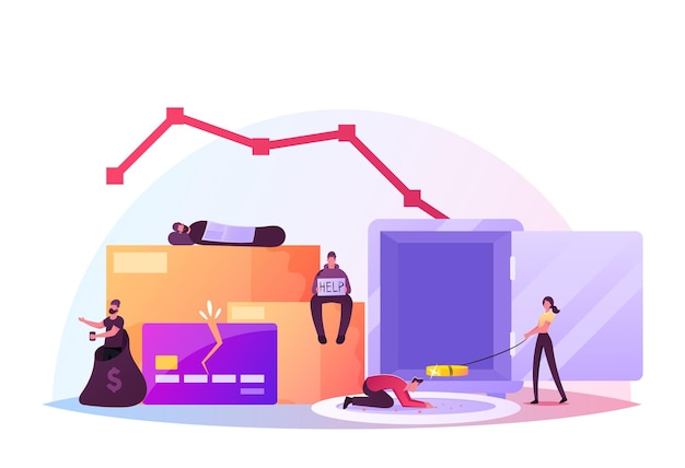 Pauperization concept. beggars wearing ragged clothing sleeping and begging on street, homeless adult poor people, male and female bums characters beg money and need help. cartoon vector illustration