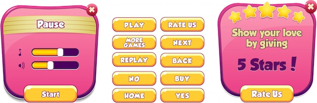 Pause menu scene pop up with sound music and buttons game ui complete menu