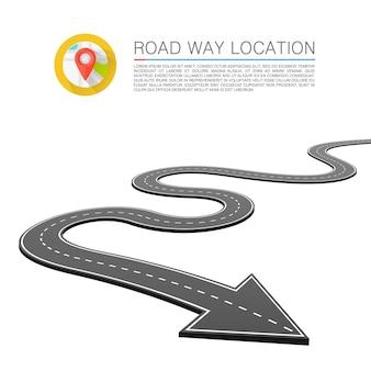 Асфальтированный путь на дороге, стрелка местоположения дороги. векторный фон