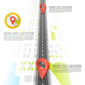 도로의 포장된 경로, 도로 지점 위치, 벡터 배경