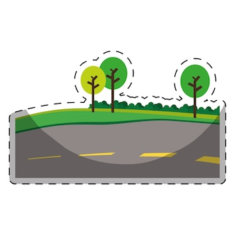 Paved road with trees on the roadside icon image