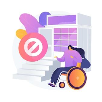 장애인을위한 포장. 장애인을위한 조건 부족. 휠체어에 장애인 된 여자입니다. 무장애 환경, 접근성.