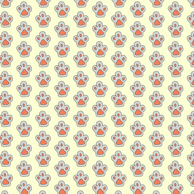 Paw cat seamless pattern