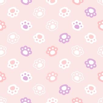 Paw footprint hands seamless pattern background