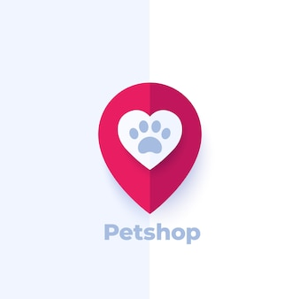 Paw and heart in mark, pet shop logo design