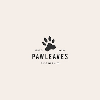 Paw leaf leaves hipster vintage logo  icon illustration