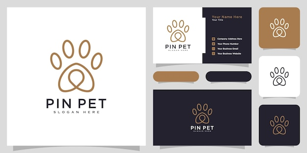Paw location or pet pin logo vector design and business card