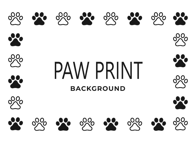 Paw print. frame on a white background. dog or cat.