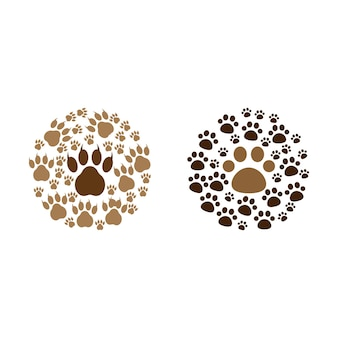 Paw print icon design set bundle template isolated