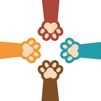 Paw print kitty set icon design