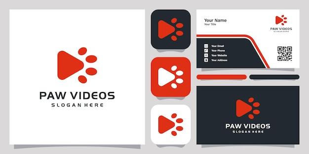 Paw videos logo icon symbol template logo and business card