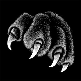 The paw with claws for t-shirt design or outwear.