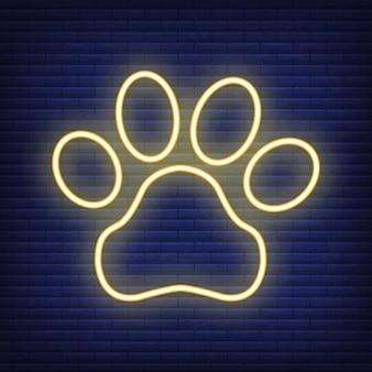 Paw with heart neon icon. concept for healthcare medicine and pet care. outline and black domestic animal. pets symbol, icon and badge. simple vector illustration on dark brickwork.
