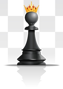 Pawn in the golden crown. chess concept design.  illustration