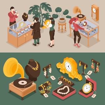 Set di banner orizzontali isometrici del banco dei pegni con clienti e periti esperti personaggi gioielli e oggetti d'antiquariato