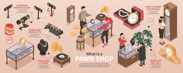 Pawn shop isometric infographic layout with images of valuable items and information about how to start business