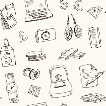 Pawnshop hand drawn doodle seamless pattern