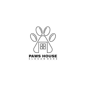 Paws and house lineart logo design vector illustration