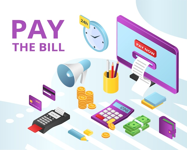 Pay bill payments for credit, rent online icons set isolated . mobile banking, bank online technology, credit cards and nfc, internet accounts paying methods. business in internet.