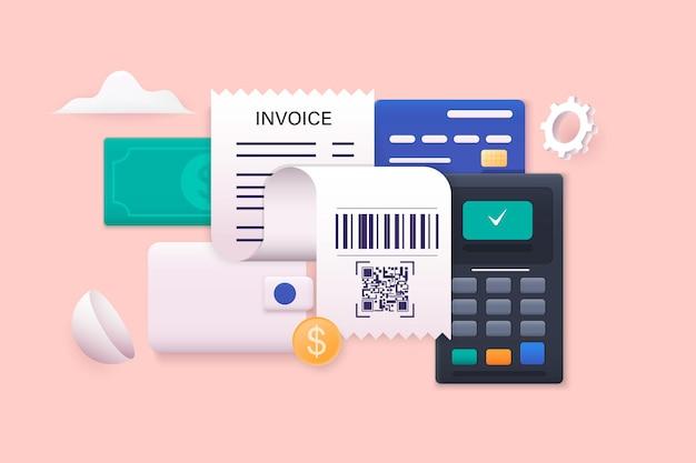 청구서 및 세금 청구서 신용 카드 및 계산기 주택 금융 및 세금 지불 개념