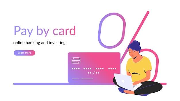 オンラインバンキングと投資クリエイティブバナーのカードで支払う。ノートパソコンとクレジットカードで蓮華座に一人で座っている女性のフラットラインベクトルイラスト。白い背景の上の銀行金利アイコン
