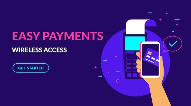 모바일 지갑의 신용 카드로 무선으로 지불하고 웹용으로 쉬운 평면 벡터 네온 일러스트레이션