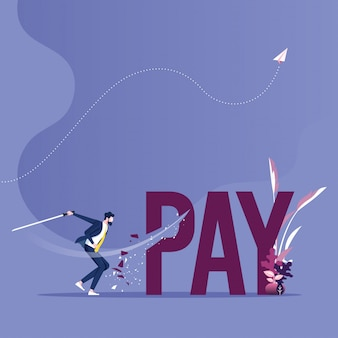 Pay cutting concept vector. businessman cut tax word with sword