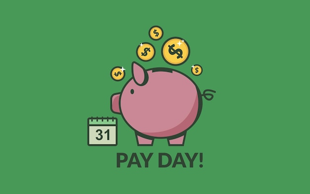 Pay day vector illustration with piggy bank gold coins and calendar salary payment concept
