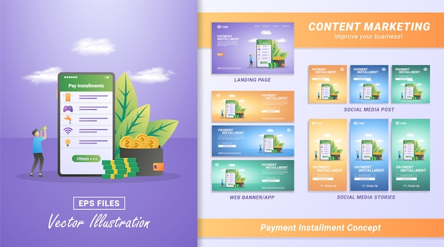 Концепция оплаты в рассрочку. оплата счетов с помощью мобильного приложения. оплата интернета, воды, игровых ваучеров, счетов.